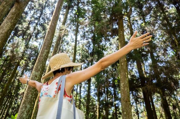 Reizende aziatische vrouw wandelen in het bos bij xitou, nantou, taiwan