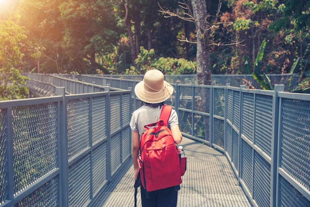 Reizende backpacker lopen op canopy loopbrug bij queen sirikit botanic garden chiangmai, thailand