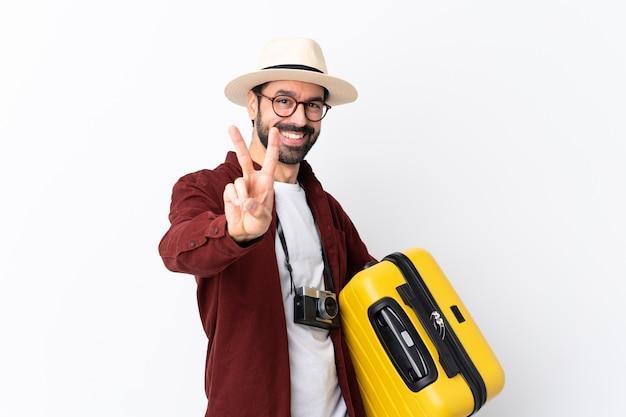 Reiziger man met koffer