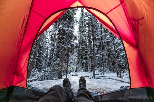 Reiziger ontspannen in rode tent met sneeuw dennenbos op camping in yoho national park