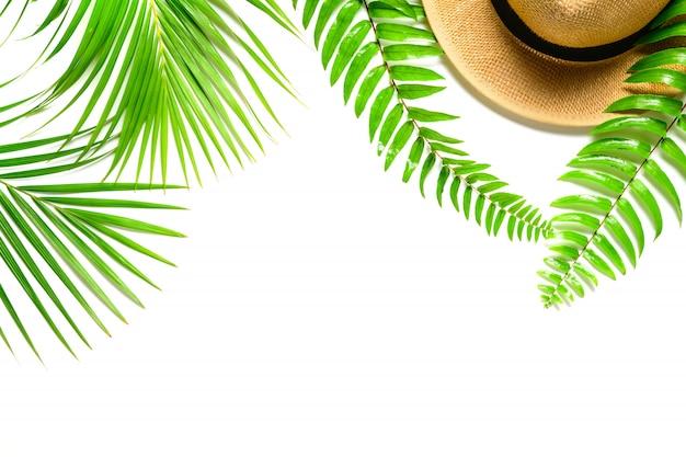 Reizigerstoebehoren, tropisch palmblad met frenblad en geïsoleerde hoed