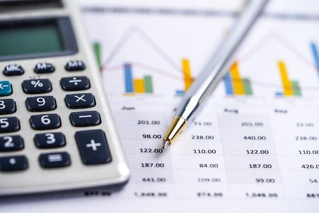 Rekenblad, rekenmachine, grafieken en grafieken. financiën, account, statistieken en bedrijf.