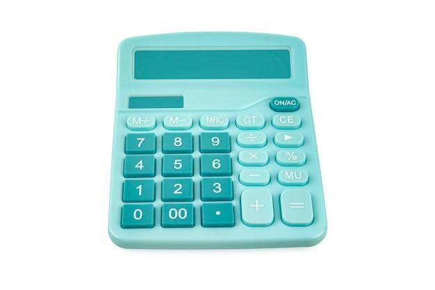 Rekenmachine blauwe kleur geïsoleerd op een witte achtergrond, uitknippad.