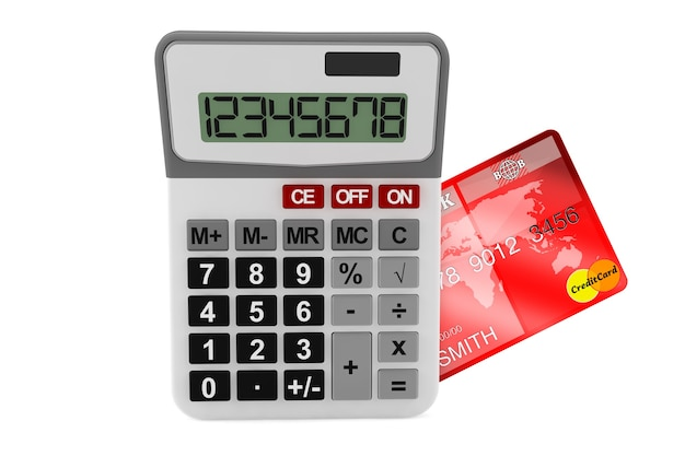 Rekenmachine met creditcard op een witte achtergrond