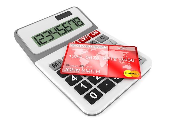 Rekenmachine met creditcards op een witte achtergrond
