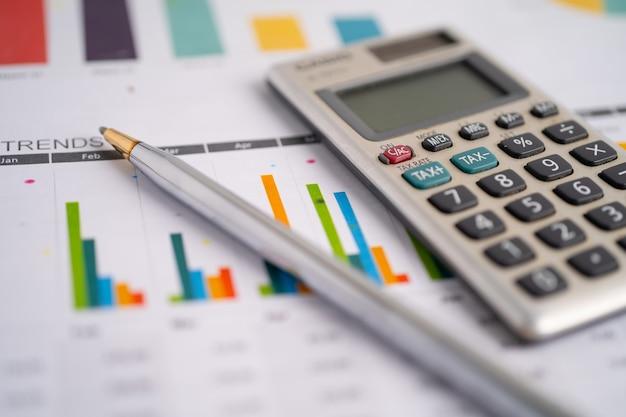 Rekenmachine op ruitjespapier financiële ontwikkeling bankrekening
