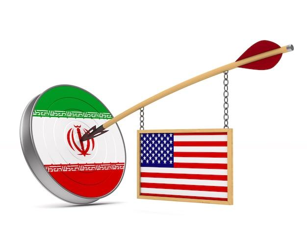 Relatie tussen amerika en iran op witte ruimte. geïsoleerde 3d-afbeelding