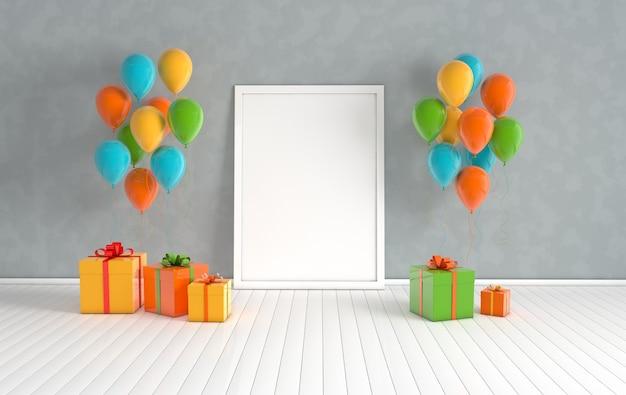 Render interieur met ballonnen geschenkdoos met lint