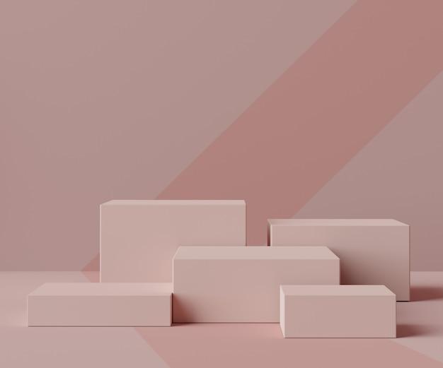 Render scene van minimale box podium scene voor display producten en cosmetische reclame