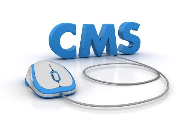 Rendering illustratie van cms word met computermuis
