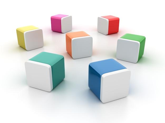 Rendering illustratie van lege tegelblokken