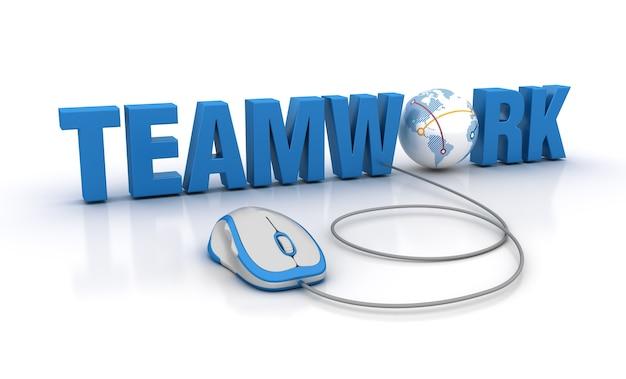 Rendering illustratie van teamwork word met computermuis en globe world