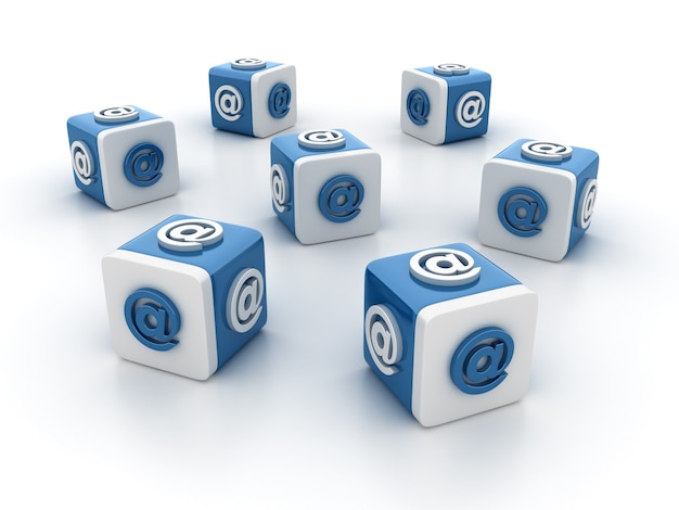 Rendering illustratie van tegelblokken met at symbool