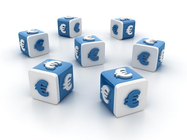 Rendering illustratie van tegelblokken met euro teken