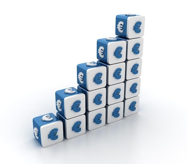 Rendering illustratie van tegelblokken met eurosymbool trap