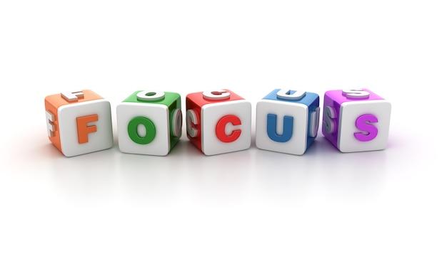 Rendering illustratie van tegelblokken met focus word