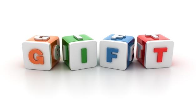 Rendering illustratie van tegelblokken met gift word