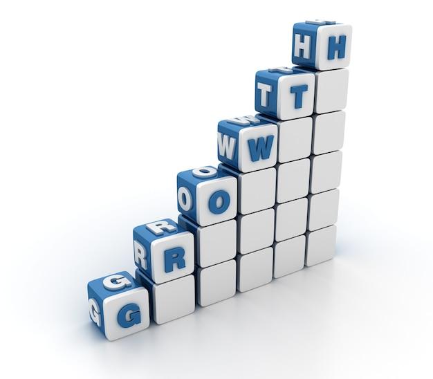 Rendering illustratie van tegelblokken met groei word trap