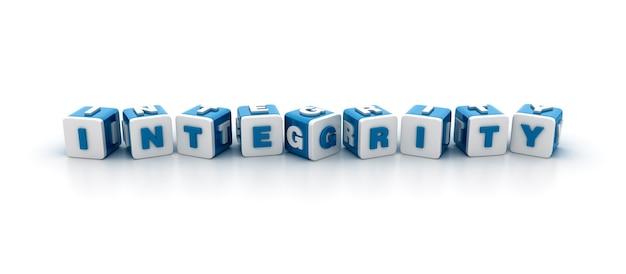 Rendering illustratie van tegelblokken met integrity word