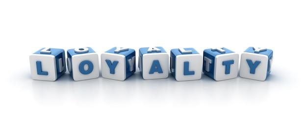 Rendering illustratie van tegelblokken met loyaliteit woord