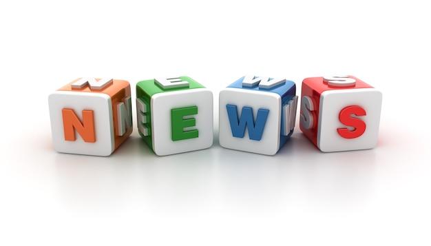 Rendering illustratie van tegelblokken met nieuws word