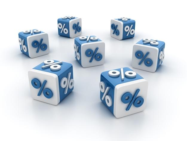 Rendering illustratie van tegelblokken met percentage-symbool