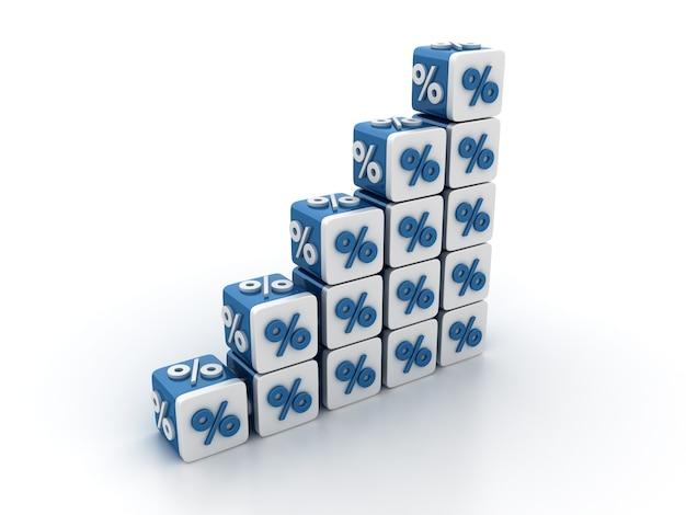 Rendering illustratie van tegelblokken met percentage teken trap