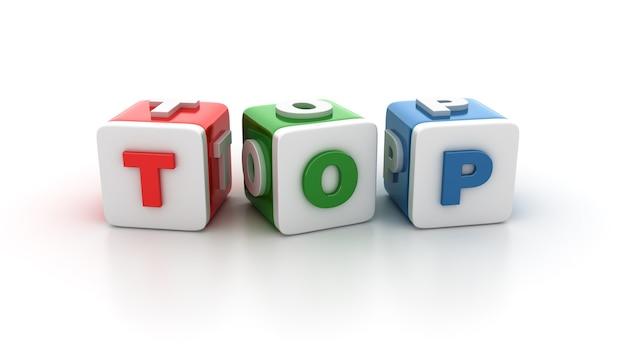 Rendering illustratie van tegelblokken met top-woord
