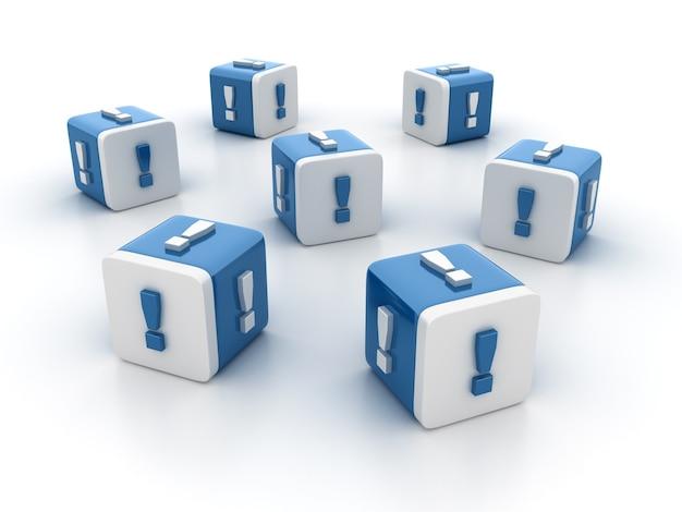 Rendering illustratie van tegelblokken met uitroep-symbolen