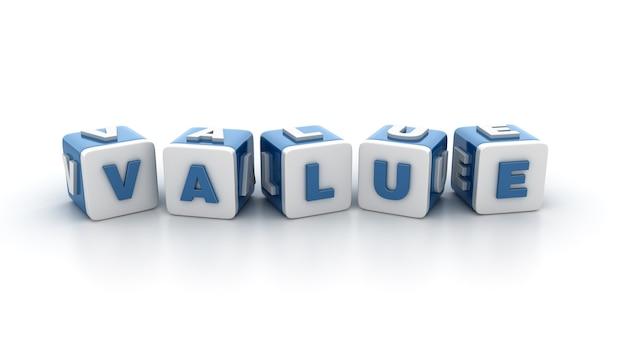 Rendering illustratie van tegelblokken met value word