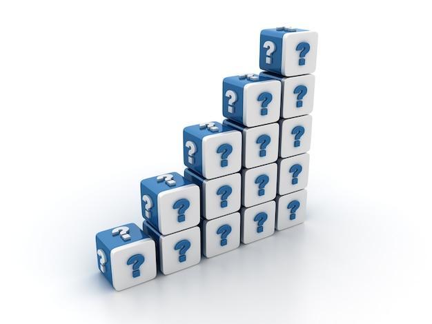 Rendering illustratie van tegelblokken met vraagteken trap