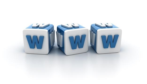 Rendering illustratie van tegelblokken met www-letters