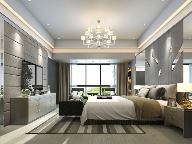 Rendering luxe moderne slaapkamer suite in het hotel