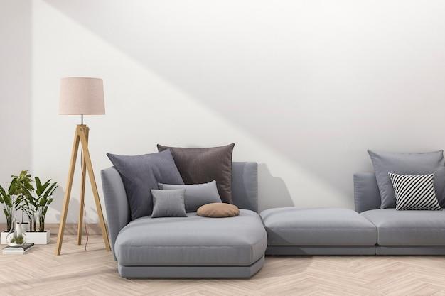 Rendering retro blauwe sofa in minimale woonkamer met bakstenen muur