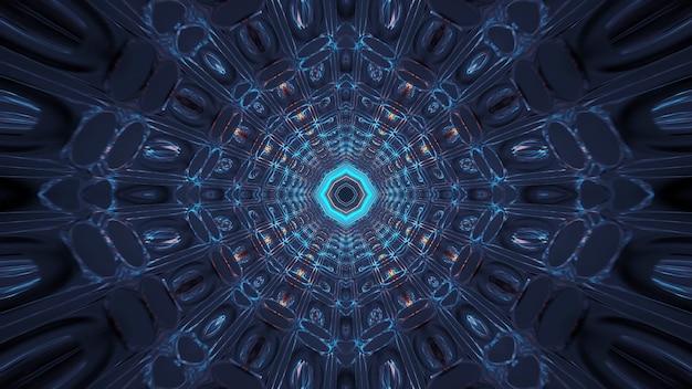 Rendering van abstracte futuristische achtergrond met een gloeiende neon blauw-groene lichten