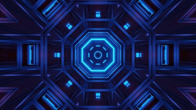 Rendering van abstracte futuristische achtergrond met een gloeiende neon blauwe lichten