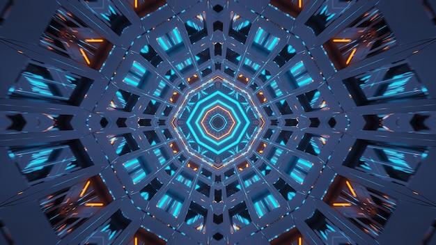 Rendering van abstracte futuristische achtergrond met een gloeiende neon blauwgroene en oranje lichten