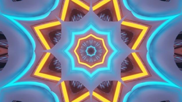 Rendering van abstracte futuristische achtergrond met een gloeiende neonlichten