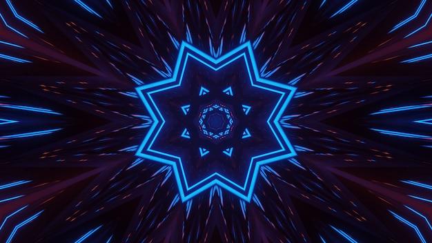 Rendering van abstracte futuristische achtergrond met gloeiende neon blauwe lichten