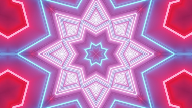 Rendering van abstracte futuristische achtergrond met gloeiende neon blauwe, roze en rode lichten