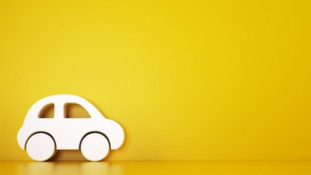 Rendering van een gele achtergrond met witte speelgoedauto