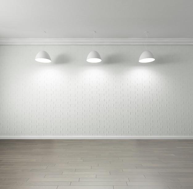 Rendering van een lege ruimte met parketvloer van hoge kwaliteit, lege bakstenen muur,