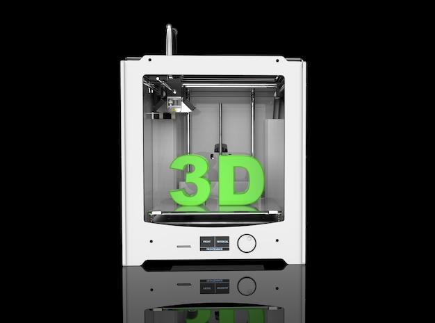 Rendering van een printer op zwarte achtergrond in 3d-rendering