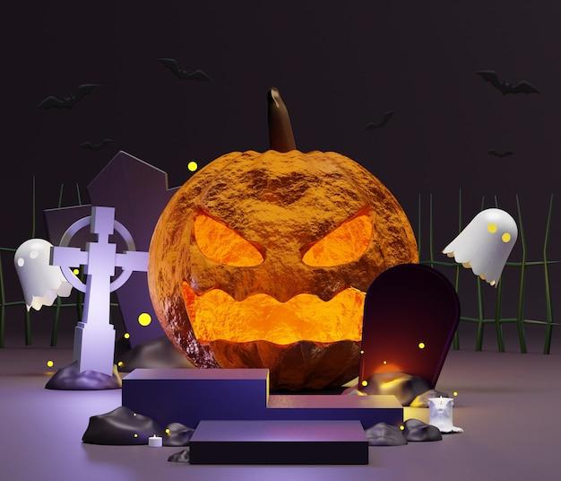 Rendering van leeg podium met halloween-scène voor mock-up en productvertoning