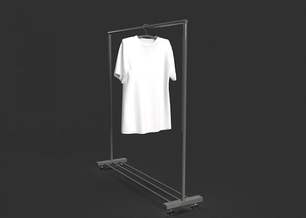 Rendering van lege witte t-shirt op een hanger