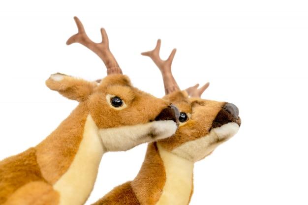 Rendieren die op kerstmis op witte achtergrond wachten.