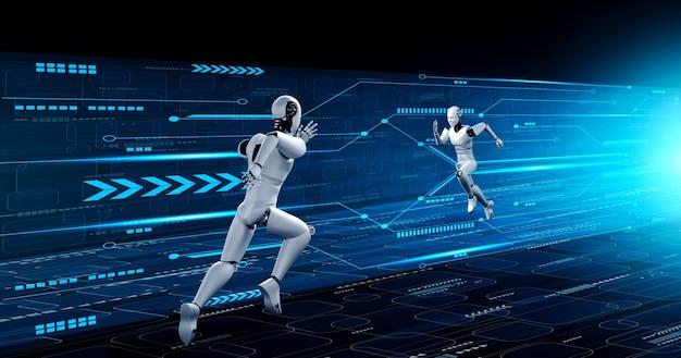 Rennende mensachtige robot die snelle bewegingen en vitale energie toont