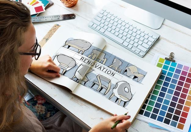 Renovatie ontwerp nieuw product ontwikkeling concept schets