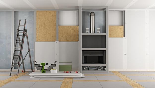 Renovatie van een oud huis en open haard lambrisering met gipsplaten panelen 3d-rendering