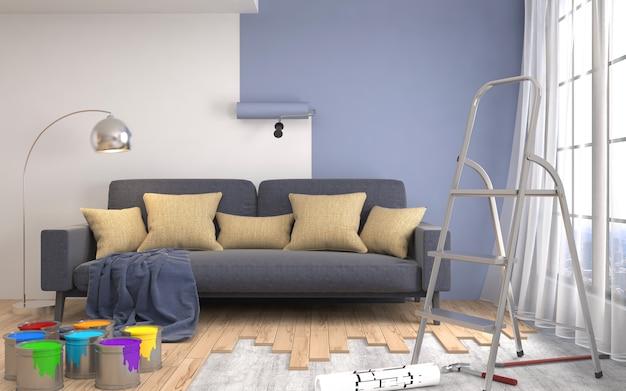 Reparatie en schilderen van muren in de kamer. 3d-afbeelding.